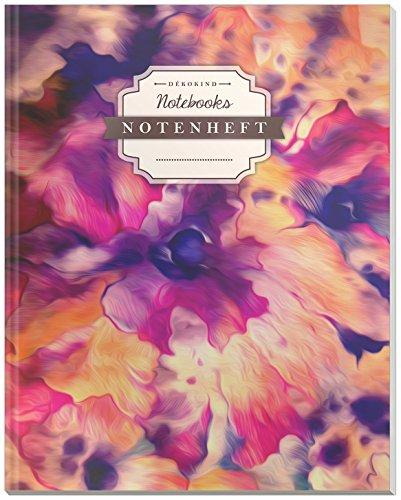 DÉKOKIND Notenheft | DIN A4, 64 Seiten, 12 Notensysteme pro Seite, Inhaltsverzeichnis, Vintage Softcover | Dickes Notenbuch | Motiv: Abstrakte Blumen