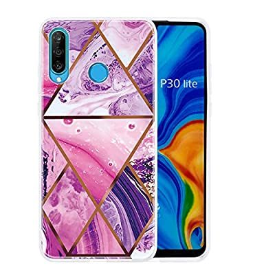 Miagon Ultra Slim Thin Case for Huawei P30 Lite,Scratch Resistant TPU Gel Rubber Soft Skin Silicone Protective Cover with Retro Marble Design,Purple from Miagon