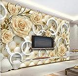 WORINA Papiers peints muraux HD jaunes roses vignes 3D Cercle pack mou TV Fond...
