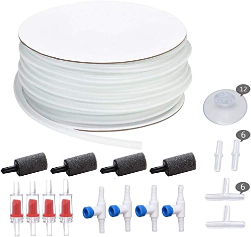 ALEGI 25 Feet Airline Tubing with Air Stones, Check Valves, Control Valve and Connectors