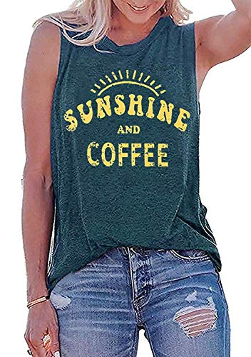Oriental Pearl Sunshine and Coffee Tank Top Women Funny Cute Sunshine Graphic Tees Lady Casual Muscle Vacation Vest Shirt