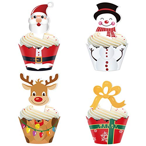 Christmas Cupcake Toppers and Wrappers Party Supplies/Favors - Snowman/Santa Claus/Reindeer/Gift Box 48 set