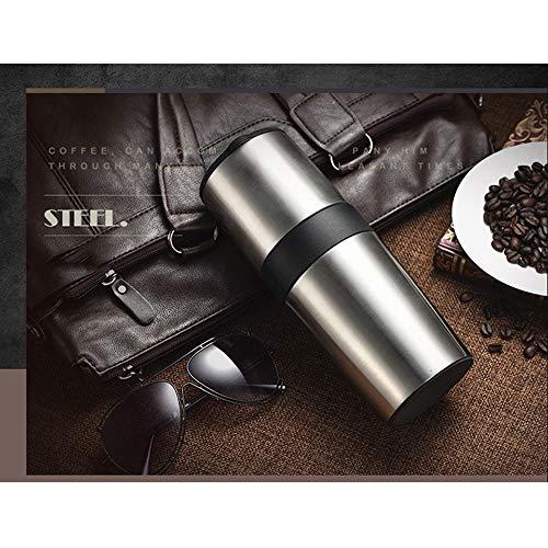 JZWX draagbare multifunctionele koffiemolen, roestvrij stalen thermoskan, handmatige multifunctionele koffiemolen, vrij instelbare dikte/fijn, EVA, roestvrij staal, Metaal