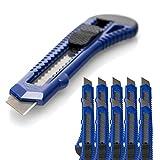 10 Stück Cuttermesser OFFICE POINT | 18mm Abbrechklinge | Teppichmesser mit Wechselklinge | präzise Klingenführung | auch für Bastelarbeiten | 1871800-00 (10)