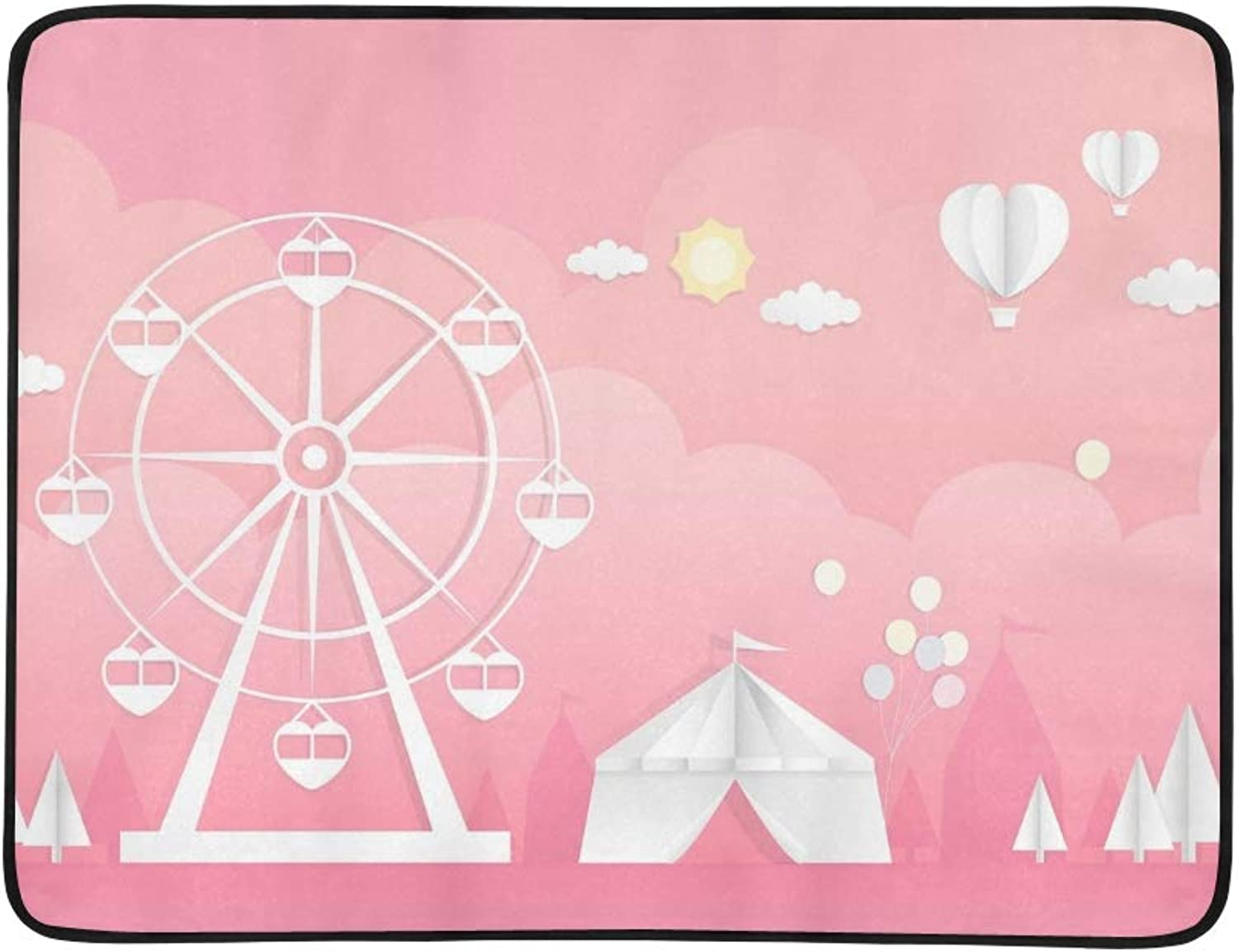 Paper Cutting Ferris Wheel Tent Amusement Portable and Foldable Blanket Mat 60x78 Inch Handy Mat for Camping Picnic Beach Indoor Outdoor Travel