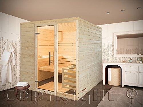 Sauna 220 x 190 cm AKTION Massivholz 45 mm EOS Saunaofen D2 Steuergerät