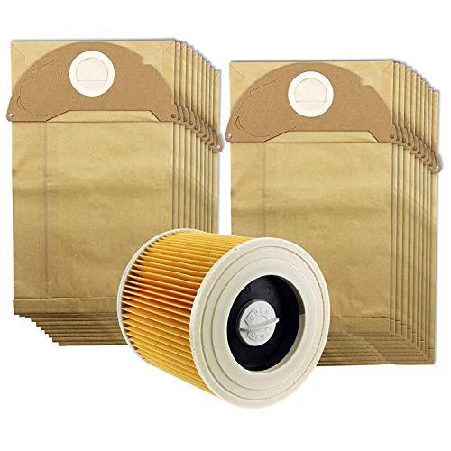 LQNB Para Karcher Wet&Dry WD2 Filtro De Aspiradora Y 20 Bolsas De Polvo
