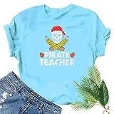 Rugby clothing boutique Q Tête de Citrouille Smiley T-Shirt imprimé Halloween drôle Top Teen Girl Tee (Color : Blue, Size : M)