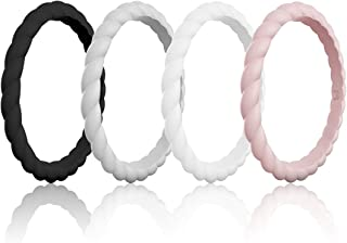 Womens Silicone Wedding Ring &Rubber Wedding Bands for Workout and Sports Width 3mm