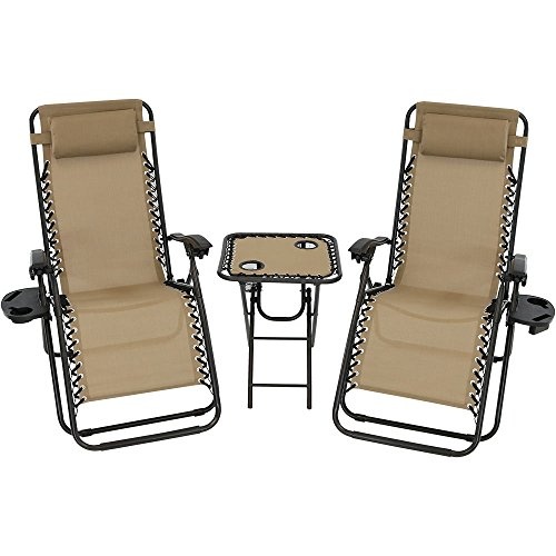 Sunnydaze Outdoor Zero Gravity Lounge Chairs Set of 2 with Patio Table, Cupholders and Pillows Included, Khaki