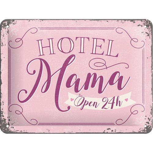 Nostalgic-Art 26197, Word Up Hotel Mama, Blechschild 15x20 cm, Metall, bunt, 15 x 20 x 0,2 cm