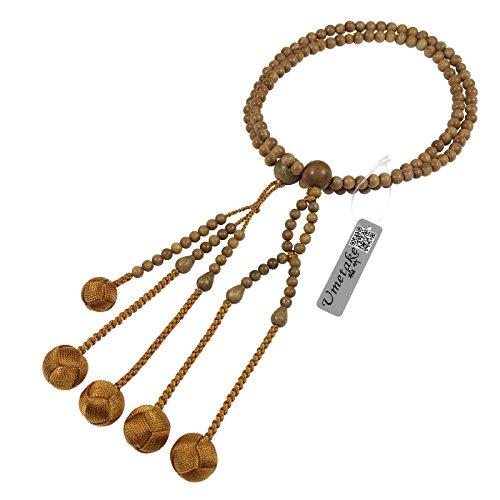 umetake Buddista Perle di Preghiera di Nichiren,108 Perline,Legno di Sandalo Verde e Oro Colore Marrone Palle tessute,Sacchetto juzu Gratuito