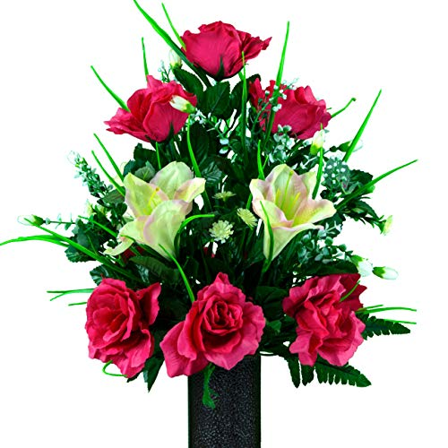 Sympathy Silks Artificial Cemetery Flowers - Realistic - Outdoor Grave Decorations - Non-Bleed Colors, and Easy Fit - Cream Pink Amaryllis & Fuchsia Rose Bouquet