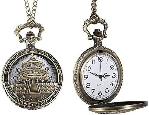 BEISUOSIBYW Co.,Ltd Collar para Hombre, Reloj de Bolsillo, Reloj de Bolsillo de Cuarzo para Hombre, Templo del Cielo cálido, Cubierta de Rabat, Cadena de aleación, Colgante, Relojes de Regalo