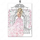 LiMengQi2 Rose Paris Fashion Girl Rose Art Mural Art sur Toile Peinture Nordique Affiches et Posters Photo Murale Décor de Salon (No Frame)
