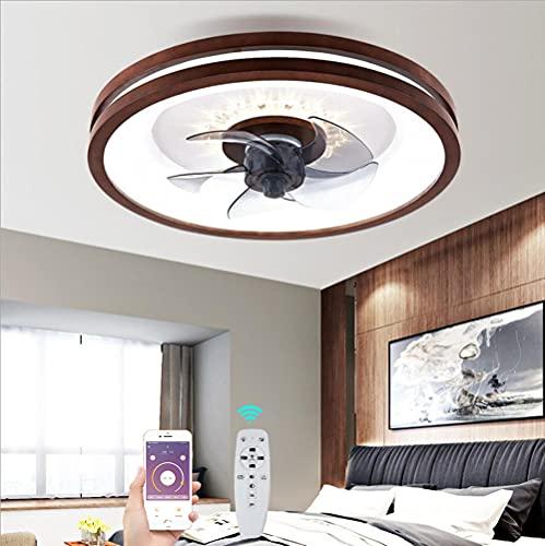 Ventilador de Techo de Madera con LED Luz Dormitorio Moderna Lámpara de Fan Silencioso Regulable Control Remoto Madera Luz de Ventilador para Salón Oficina Estudio Iluminación, Ajustable 3 Velocidades