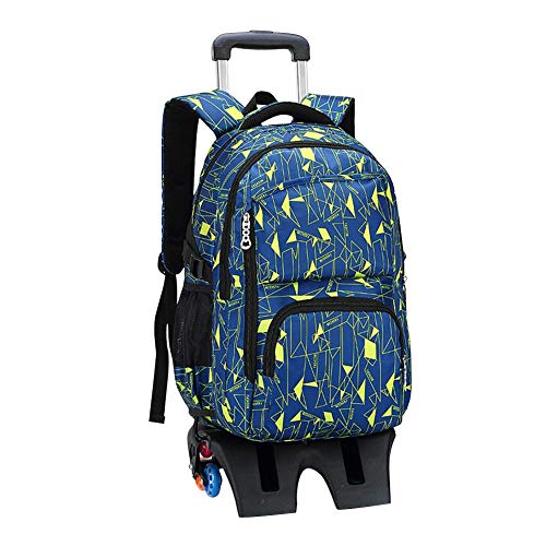 Hzjundasi Trolley School Bag Students Backpack - with Heightened Six Wheels Climbing Stairs - Rolling Shoulder Bag for Boys Girls Kids Children's (Black+Yellow)