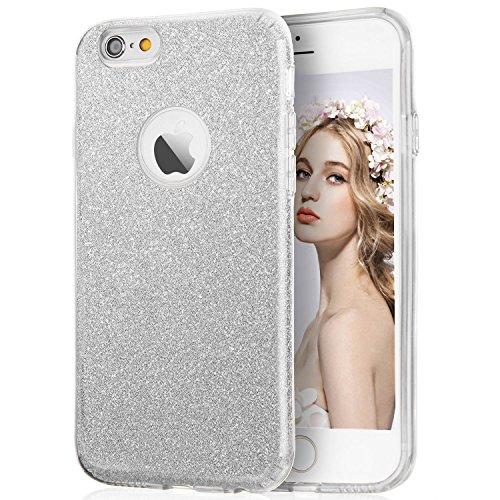 Imikoko Hülle für iPhone 6/iPhone 6S Glitzer Schutzhülle [Weiche TPU Abdeckung + Glitzer Papier + PP innere Schicht] [DREI in Einem](Silber, 4.7