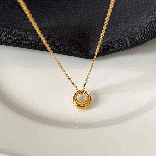 ZHIFUBA Co.,Ltd Collar Mujer Anillo Collar Clavícula Colgante Cadena Collar Colgante Cadena para Mujeres Hombres