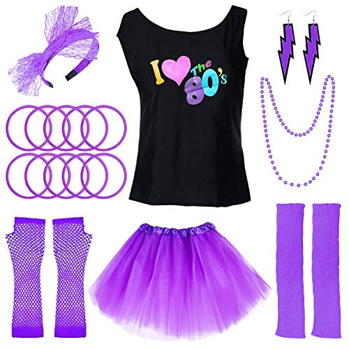 PAXCOO 80s Costumes for Women, 80s Accessories for Women with I Love The 80s T-Shirt Tutu Skirt for Party Accessory (XL Size, Purple)