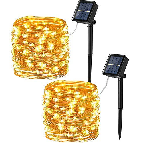 Brizled Solar String Lights, 2 Pack 39.37ft 120 LED Solar Fairy Lights, 8 Modes Outdoor Solar Fairy Lights String with Memory, Waterproof Solar Twinkle Lights for Christmas Garden Party, Warm White