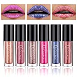 Coosa 6PCS Non-stick Cup Metal Shining Lipstick Waterproof Sparkling Lip Gloss Vivid Color Matte Lip Liquid Long Lasting Makeup 6 Colors (Set 4)