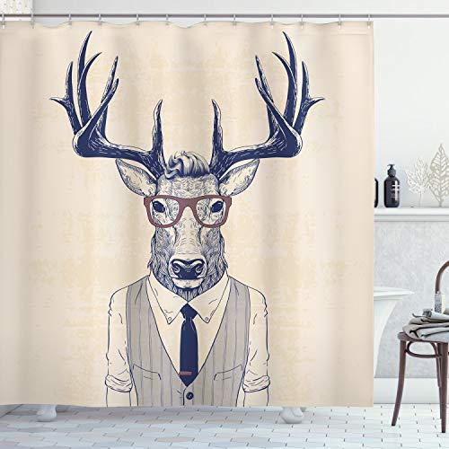 ABAKUHAUS Hipster Duschvorhang, Rentier Charismatische Brillen Krawatte, Moderner Digitaldruck mit 12 Haken auf Stoff Wasser und Bakterie Resistent, 175 x 200 cm, Champagner Dunkel Violettblau