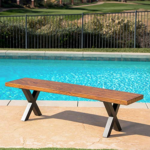 Christopher Knight Home Islamorada Outdoor Lightweight Concrete Dining Bench, Brown Walnut / Black