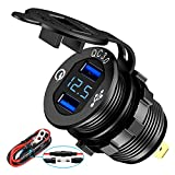 Quick Charge 3.0 Dual USB Charger Socket,Aluminum Power Outlet Fast Charge,with LED Digital Voltmeter and Wire Fuse, for 12V/24V Car, Golf Cart, Boat, RV, Motorcycle, Truck and More