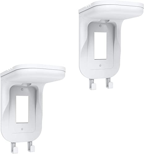 WALI Wall Bathroom Shelf Standard Vertical Duplex GFCI Decorative Outlet for Cell Phone Dot Google Home Speaker up to 20lbs with Cable Management and Detachable Hooks (OSH002-W) White 2 Packs