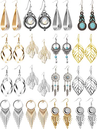 16 Pairs Exaggerated Boho Statement Drop Dangle Earrings Set Golden Silvery Style Drop Earrings for Women, Girls (Style 1)