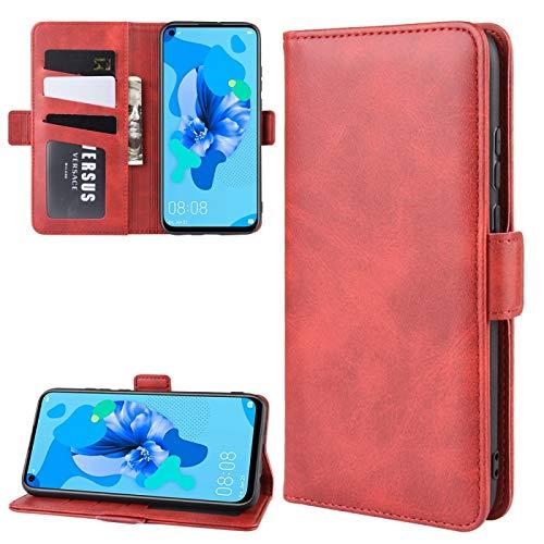 LICHONGGUI Para Huawei P20 Lite 2019 / Nova 5i Doble Hebilla Caballo Loco de Negocios del teléfono móvil de la pistolera con función Soporte de la Tarjeta Monedero (Color : Red)