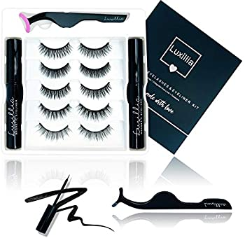 5 Sets Lashes 2 Liners  Luxillia by Amazon Magnetic Eyelashes with Eyeliner Kit - 8D Lashes Natural Look Cruelty-Free Waterproof Liquid Eye Liner for Magnet Lash Set Reusable No Glue Applicator