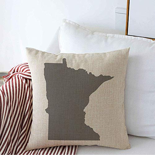 Pillow Cover Gray Mark Outline Abstract Raster Map Us State Region Line Shaded Area Cartography Beam Border Soft Linen Decorative Square Throw Pillow Cover 16x16 Inch for Couch car Decoration