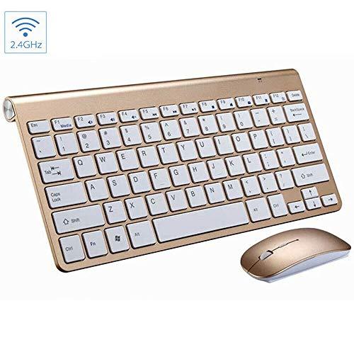 YOREN Kabellose Tastatur + Maus Set mit USB-Empfänger, lange Reichweite, kabellose 3 Tasten 2,4 GHz Maus, wasserdichte Bluetooth-Tastatur und Maus gold