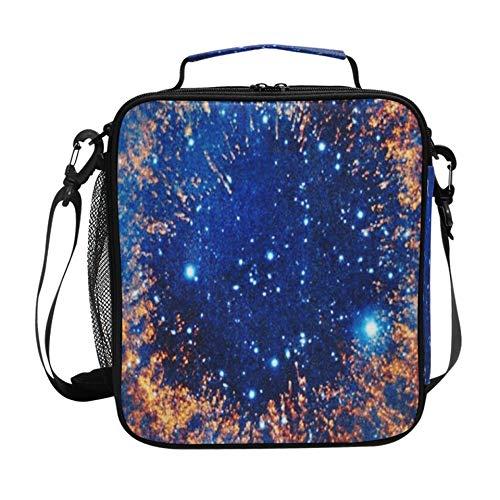 Bolsa de almuerzo para adolescentes Hermoso espacio Nebulosa Estrellas Planetas 2560x1920 Fiambreras para niñas adolescentes para la escuela con correa para el hombro ajustable y m