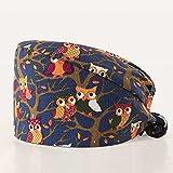 Gorro de trabajo mujer,6 gorro de trabajo ajustable unisex gorro de turbante lindo animal print cubierta de pelo con lazo en la espalda con banda para el sudor sombrero multiusos para hombres mujeres
