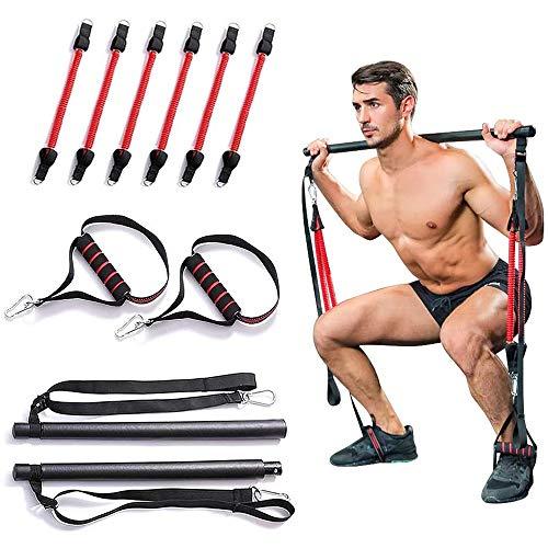 HAIZICJ Tragbares Pilates-Bar-Kit Mit Widerstandsband Yoga-Zugstangen Home Gym Body Abdominal-Widerstandsbänder Mit Fußschlaufe Für Ganzkörpertraining,2 Band