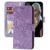 XYX Wallet Case for Galaxy A01,[Embossed Lace Flower] PU Leather Case for Galaxy Galaxy A01 SM-A015 (Purple)