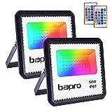 2X50W RGB Foco LED con Control Remoto, Foco Proyector Exteriores Interior IP67 Impermeable LED Reflecto 16 colores 4 modos Luces de Humor para Fiesta Jardín Halloween, Decoración Navideña