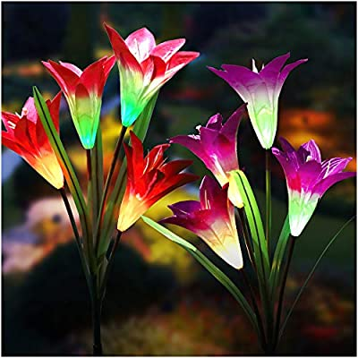 Solar Lights Outdoor - New Upgraded Solar Garden Lights, Multi-Color Changing Lily Solar Flower Lights for Patio,Yard Decoration, Bigger Flower and Wider Solar Panel(2 Pack)