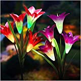 Solar Lights Outdoor - New Upgraded Solar Garden Lights, Multi-Color Changing Lily Solar...