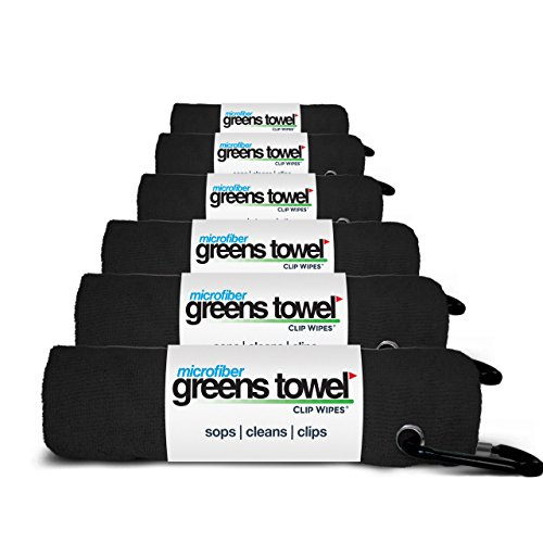"Greens Towel 6 Pack Black | The Convenient Golf Towel | Microfiber 16""x16"" with Clip (Jet Black)"