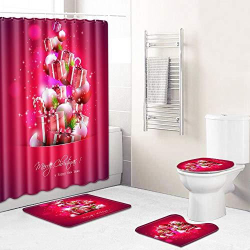 Juego de Cortinas de Ducha 150 × 180 cm Cortina de Ducha Antibacterial Impermeable Decoracion de Baño con 12 Ganchos,Caja Blanca Plateada roja