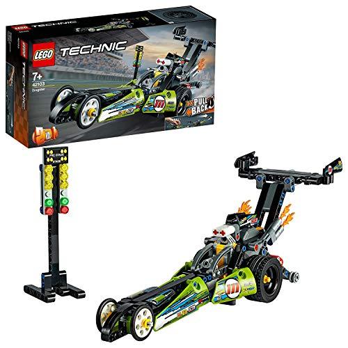 LEGO 42103 Technic Dragster Rennauto oder Hot Road, 2-in-1 Set mit Rückziehmotor, Sammlung von Dragster Rennfahrzeugen