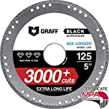 Disco de Corte GRAFF Black 115mm / 125mm para Amoladora Angular, Disco Corte para Hoja de Metal, Tubos y Perfiles de Metal, Hierro, Hierro Fundido (125 mm)