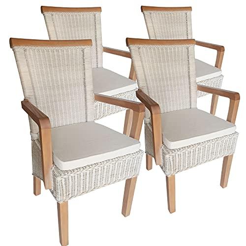 Esszimmer Stühle Set mit Armlehnen 4 Stück Rattanstühle Stuhl weiß Perth Farbe mit Sitzkissen