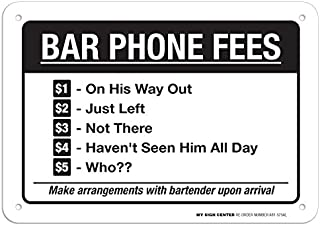 """Funny Bar Phone Sign Bartender Sign, 7"""" x 10"""" Industrial Grade Aluminum, Easy Mounting, Rust-Free/Fade Resistance, Indoor/..."""