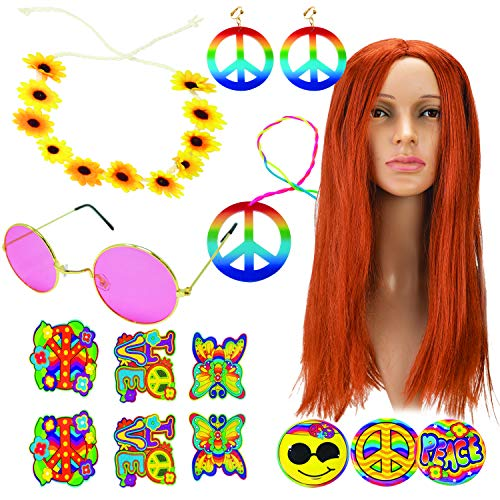 Hippie Costume Accessories Set with Brown Wig, Flower Headband, Glasses, Peace Sign Necklace & Earrings, Pins and Tattos for 60/70/80s Hippie Party Dress Up