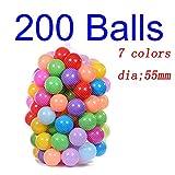 Deyan 100 / 200pcs bebé Colorido plástico Suave Piscina de Agua Ocean Wave Ball para niños Bolas de Juguete Divertido(55mm-100 Balls,Multicolor)